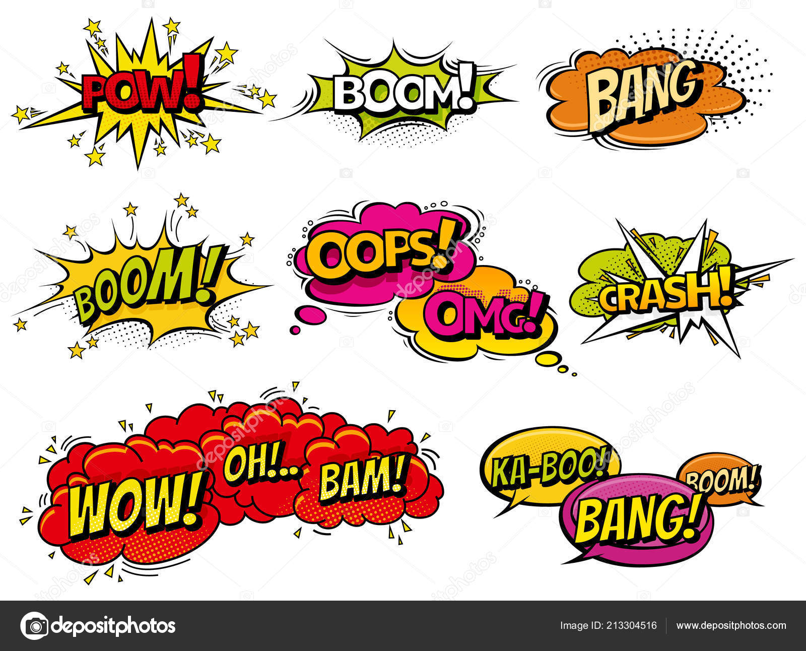 comic book sound effect speech bubbles expressions collection