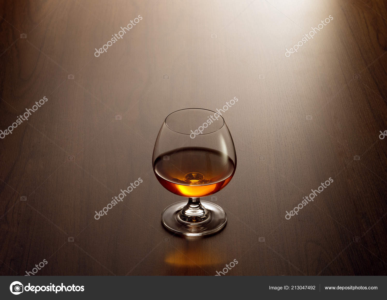 View Glass Cognac Brown Color Wooden Table Surface Stock Photo
