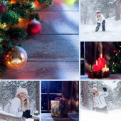 Fotografie merry christmas and new year theme collage composed of different images