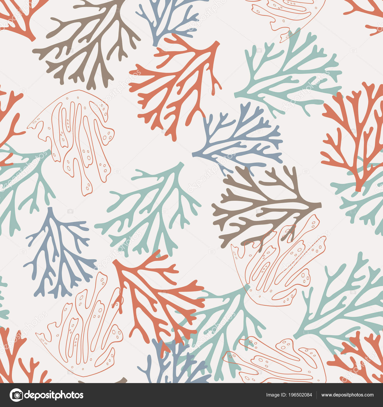 Seamless Pattern Colored Sea Coral Background Elements Wallpaper Stock Vector