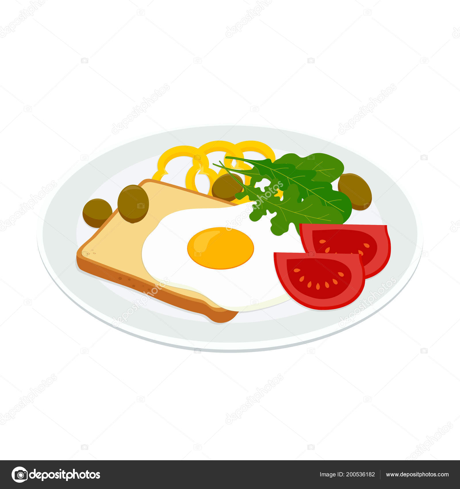 Breakfast Fried Eggs Toast Tomatoes Pepper Arugula Olive Isolated Plate Vector Image By C Makc76 Vector Stock 200536182