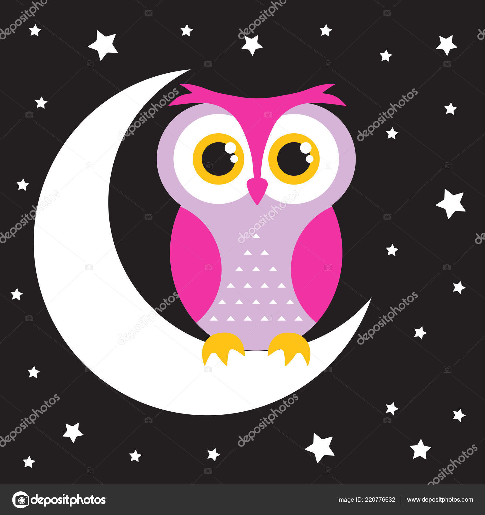 Gufo Del Fumetto Sulla Luna Con Stelle Carta Buona Notte