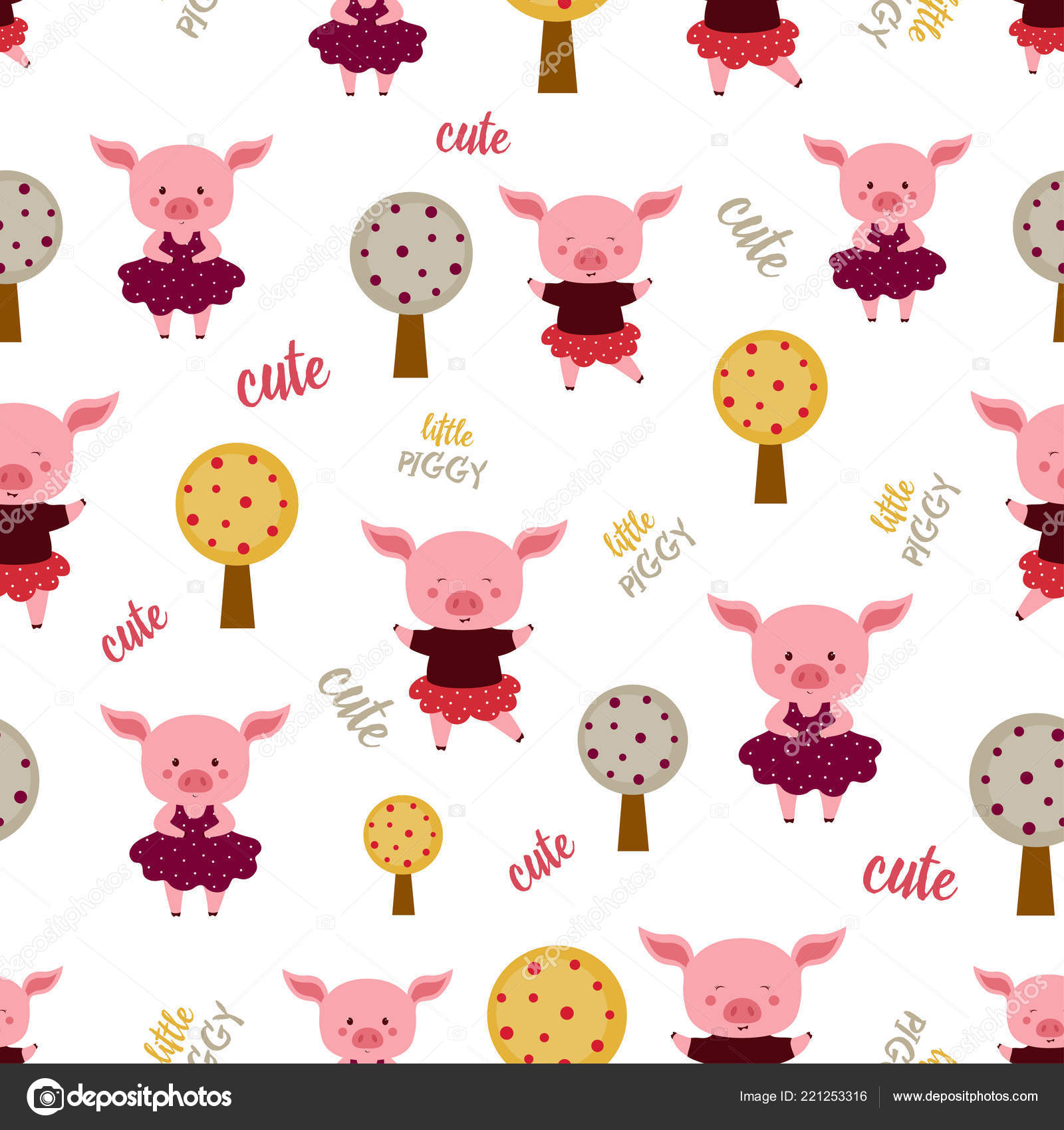 seamless pattern funny pigs elements design new year wallpapers cartoon stock vector