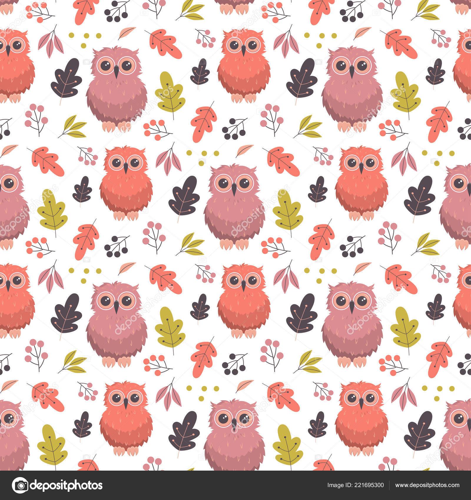 Fall Owl Wallpaper Seamless Pattern Cute Owl Leaves Autumn