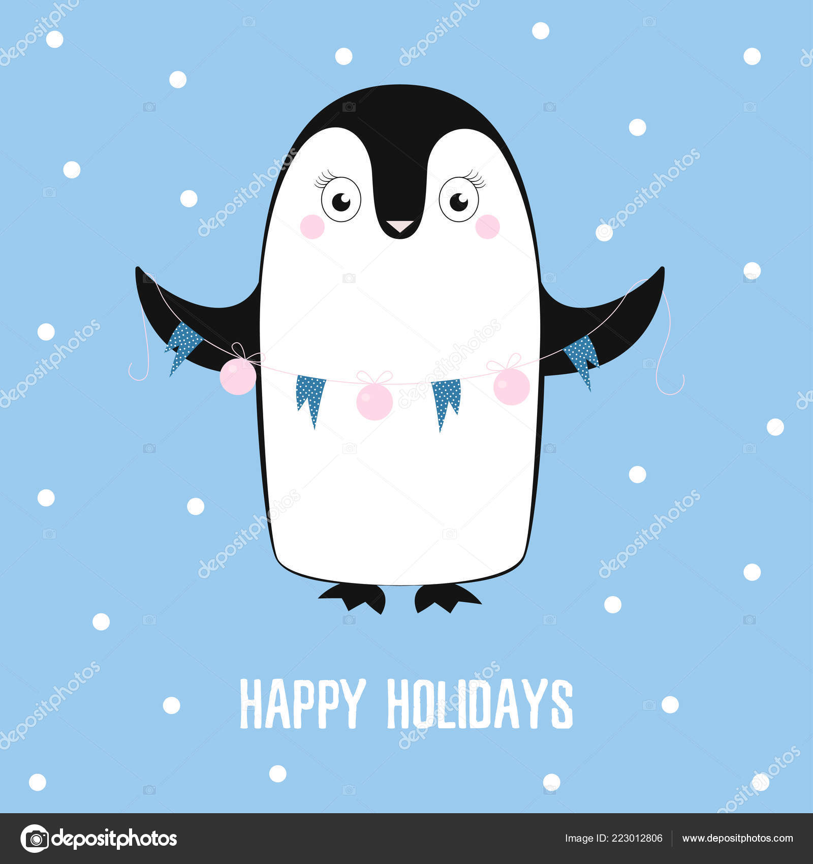 Winter Postcard Cute Cartoon Penguin Christmas Tree Decorations Text Happy Vector Image By C Makc76 Vector Stock 223012806