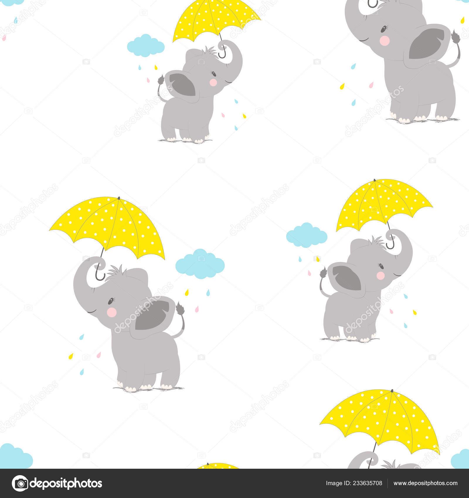Cartoon Style Pattern Funny Elephant Umbrella Backgroung Cloud