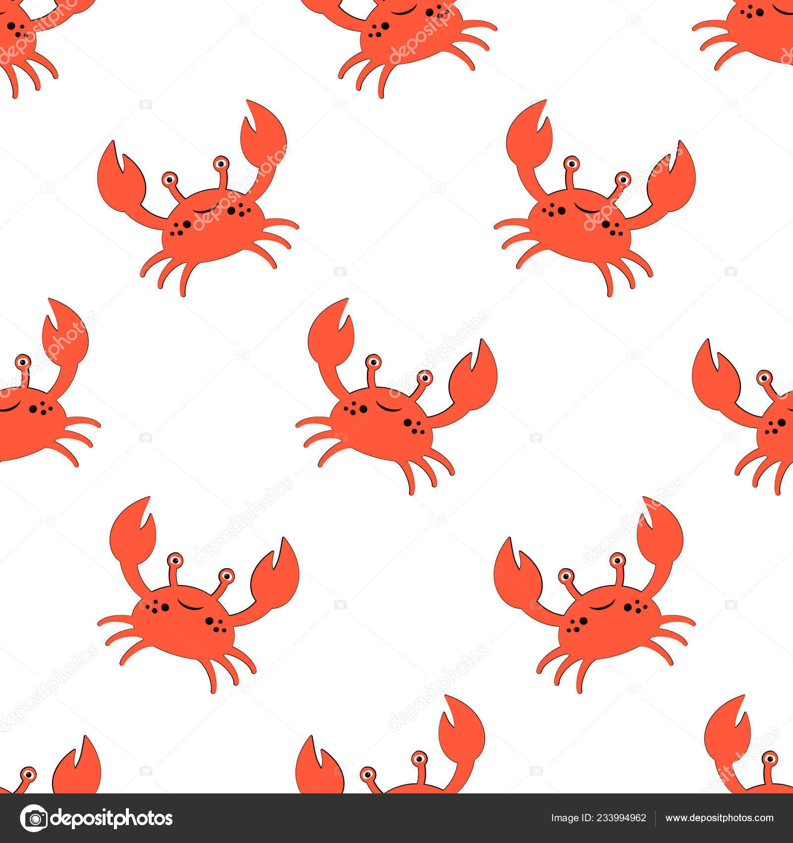 Cute Kids Pattern Girls Boys Colorful Crab Abstract Background Create Stock Vector C Makc76 233994962