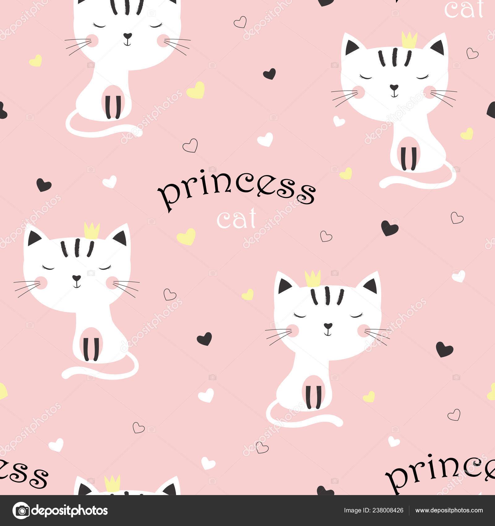 Cartoon Image Of Sweet Cat Pattern Cartoon Sweet Cat Girl Crown Pink Background Multicolor Hearts Stock Vector C Makc76 238008426