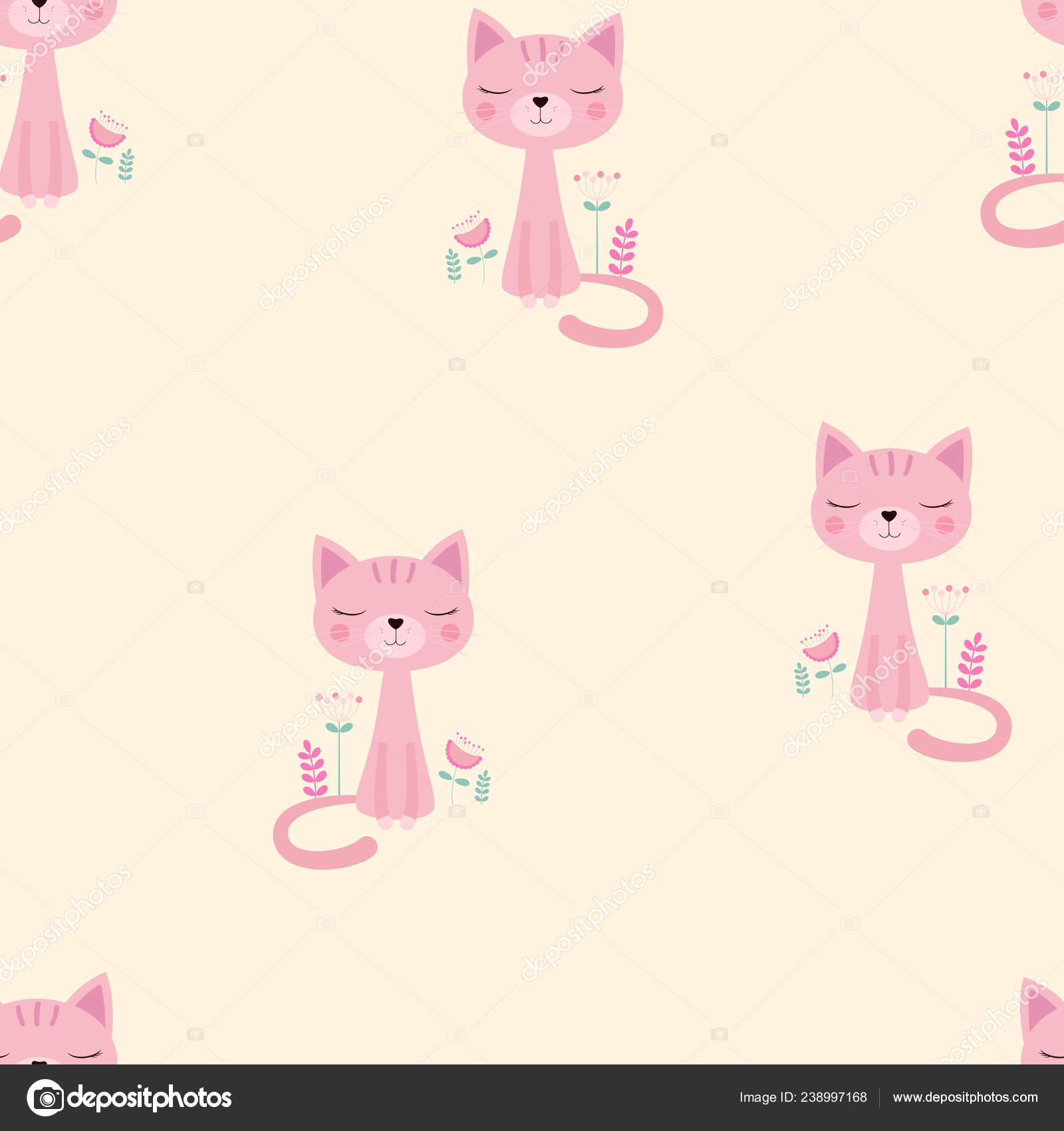 Cute Pink Cat Wallpaper Pattern Cute Pink Cat Flowers Beige Bacground Design Print Wallpaper Stock Vector C Makc76 238997168