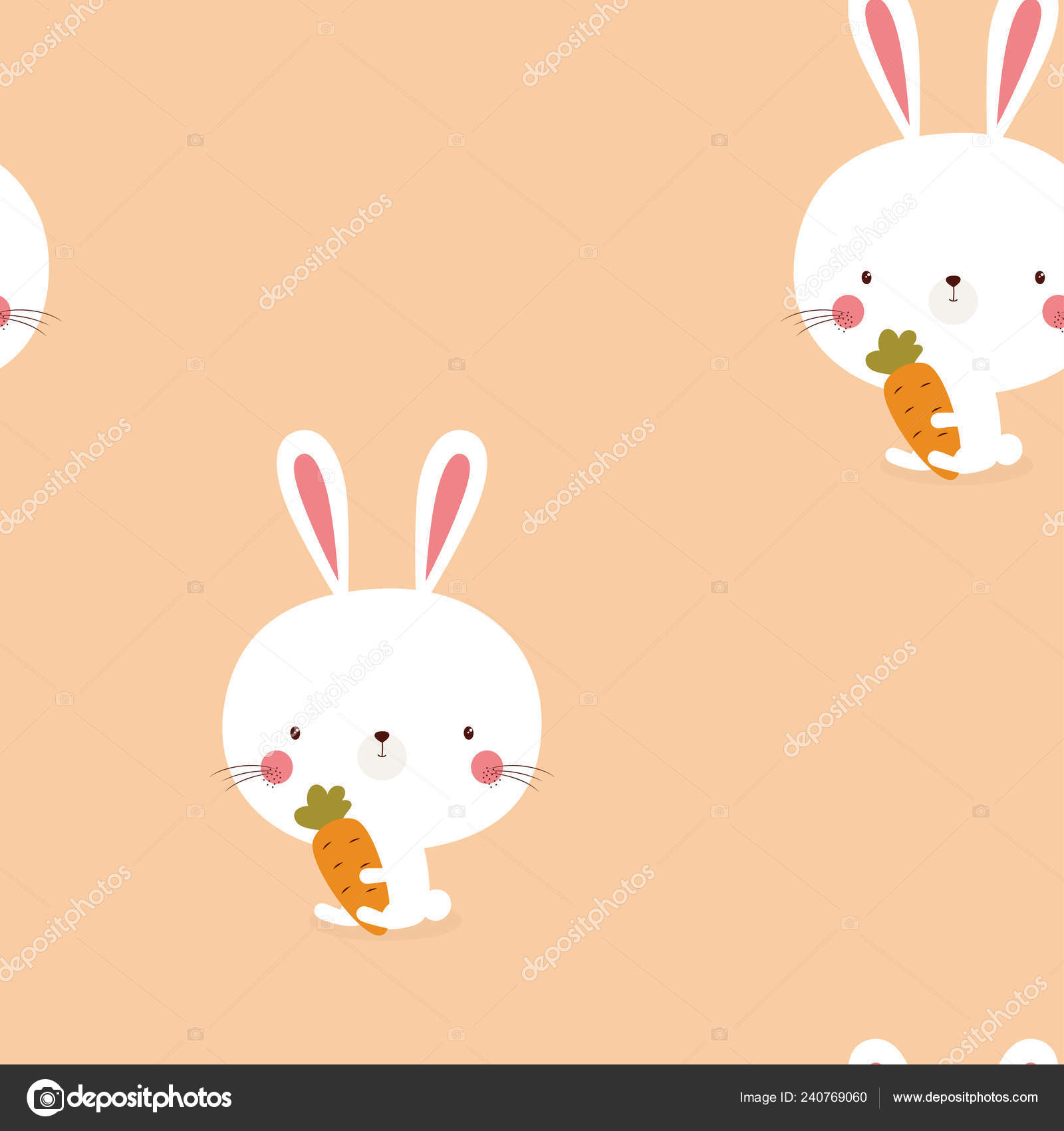 Seamless Pattern Cute White Bunnies Carrots Pink Background Easter