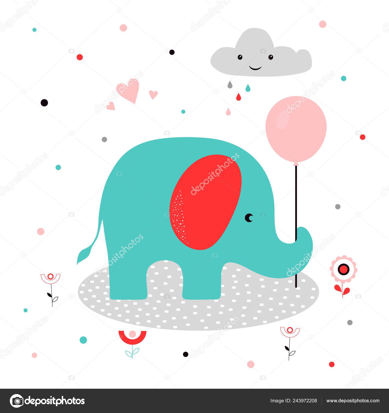 Cartão Elefante Com Balão Nuvem Flores Corações Imprimir Bonito Com