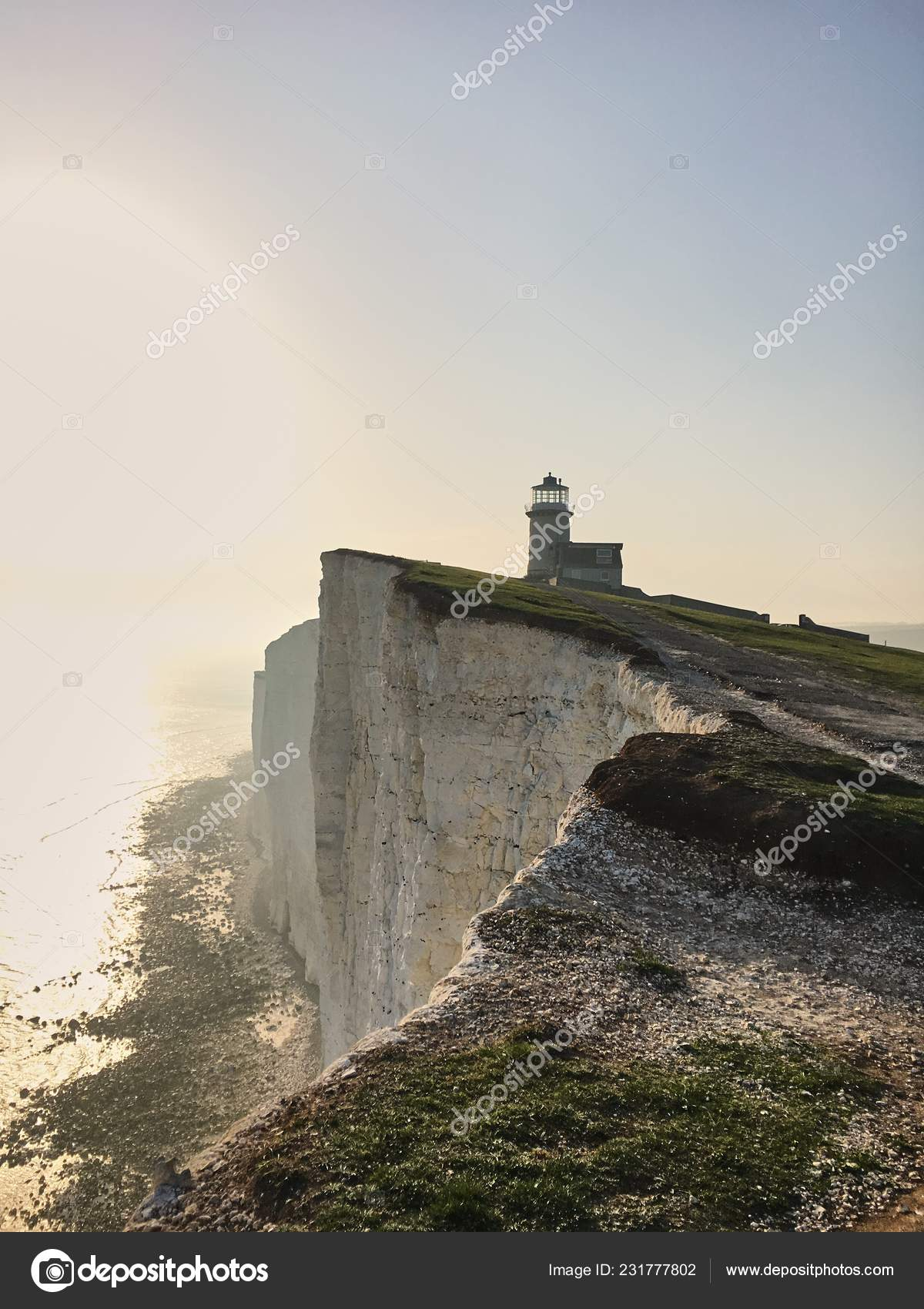 Lighthouse White Cliff Seven Sisters Sussex — Stock Photo