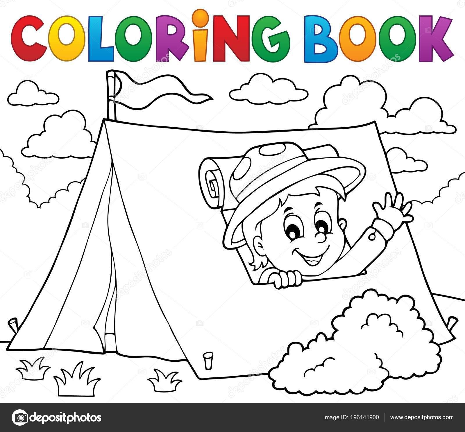 Scout Libro Para Colorear Tema Tienda Ilustración Vector Eps10 ...