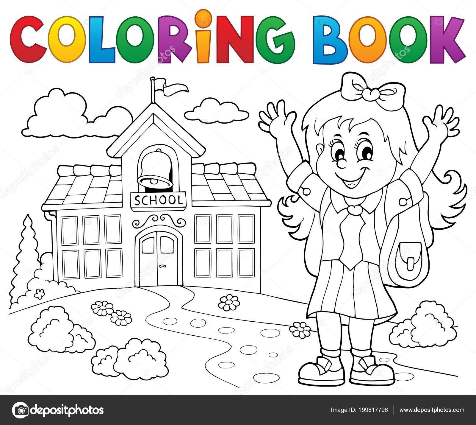 Boyama Kitabı Mutlu öğrenci Girl Tema Eps10 Vektör çizim Stok