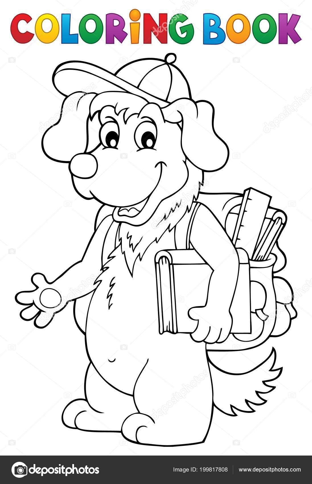 Malvorlagen Schule Hund Buchthema Eps10 Vektor Illustration ...