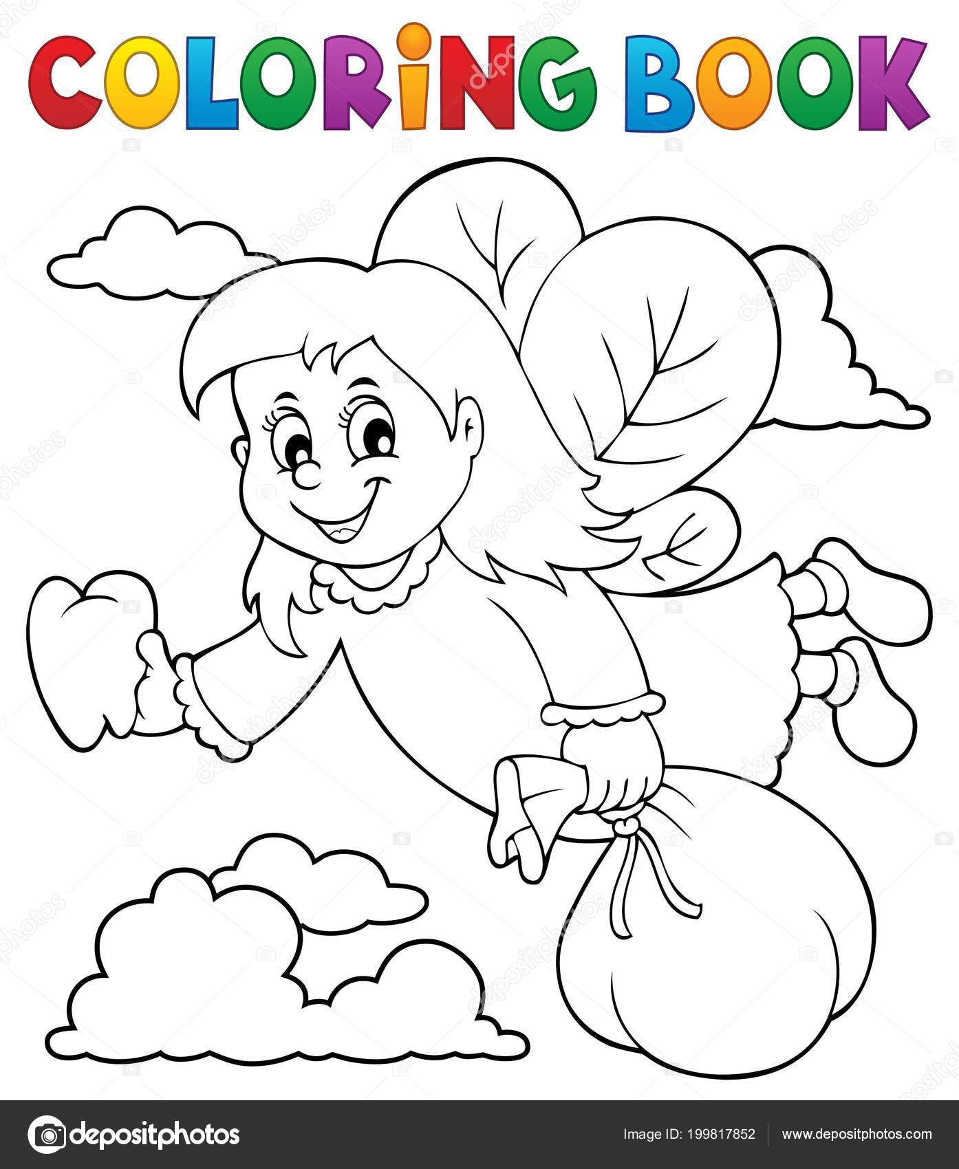 Coloring Book Tooth Fairy Theme Eps10 Vector Illustration Stock