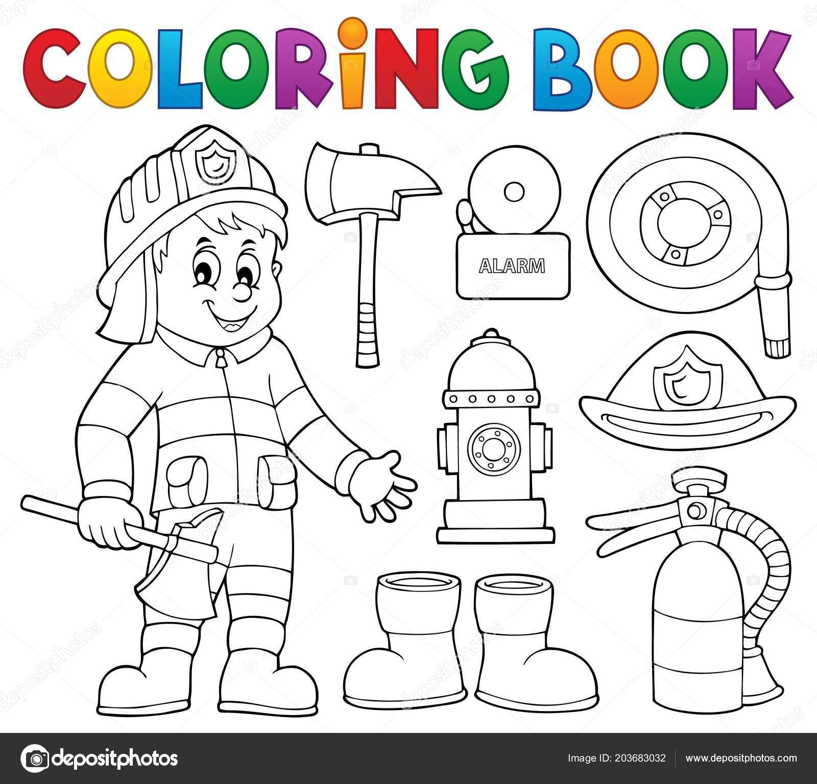 Tema Bombero Libros Colorear Set Ilustración Vector Eps10