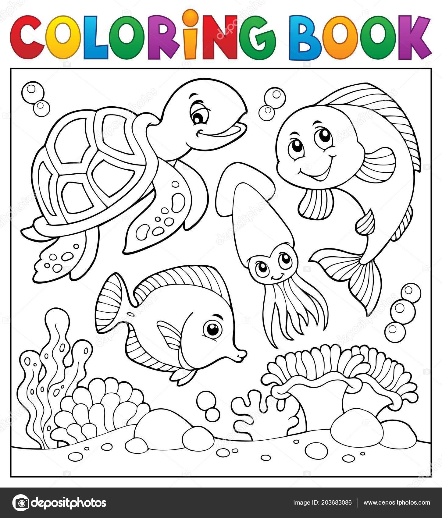 Coloring Book Sea Life Theme Eps10 Vector Illustration — Vector de ...