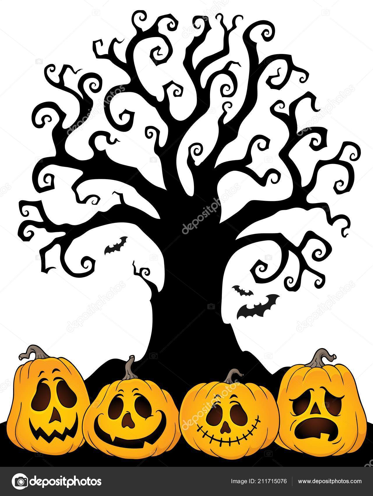 halloween tree silhouette topic eps10 vector illustration stock vector