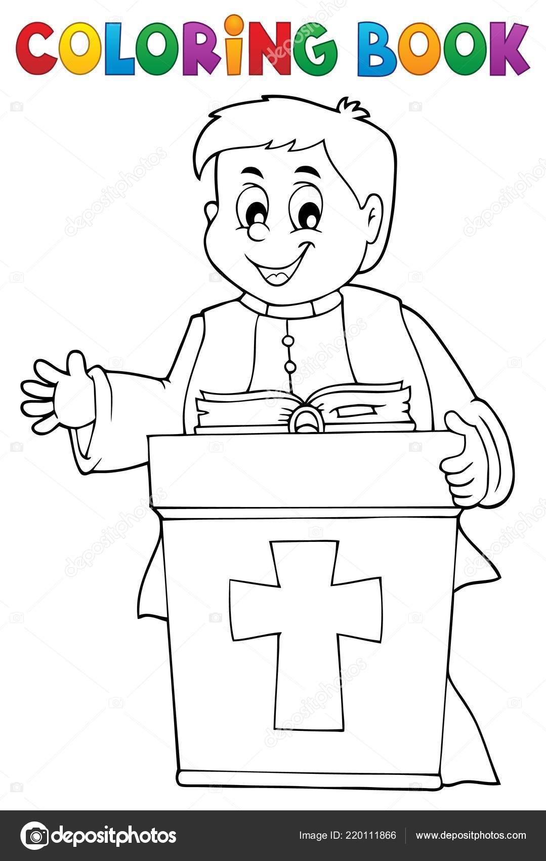 Para Colorear Tema Joven Sacerdote Libro Ilustración Vector