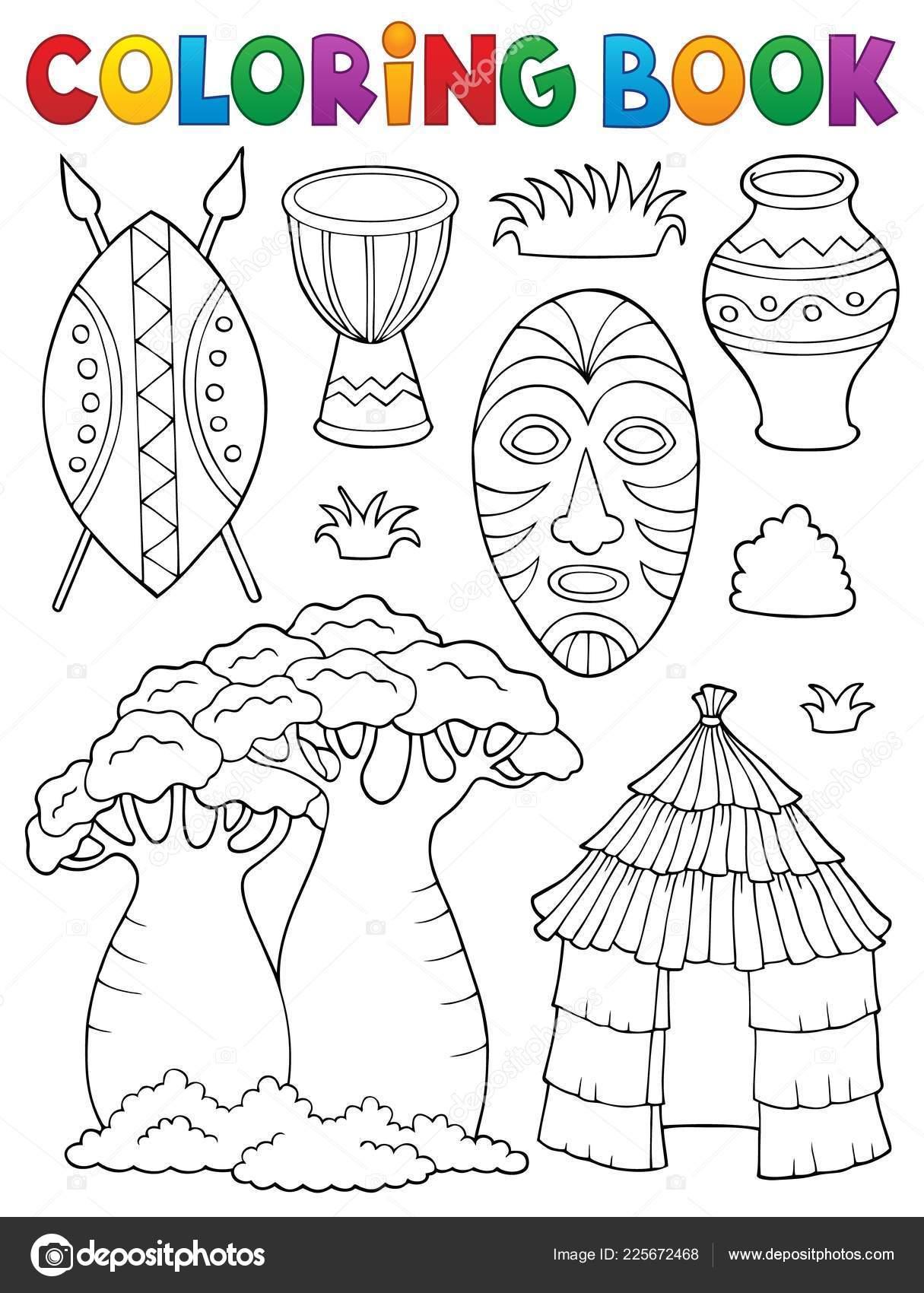 Colorear Libro Temática Africana Set Ilustración Vector