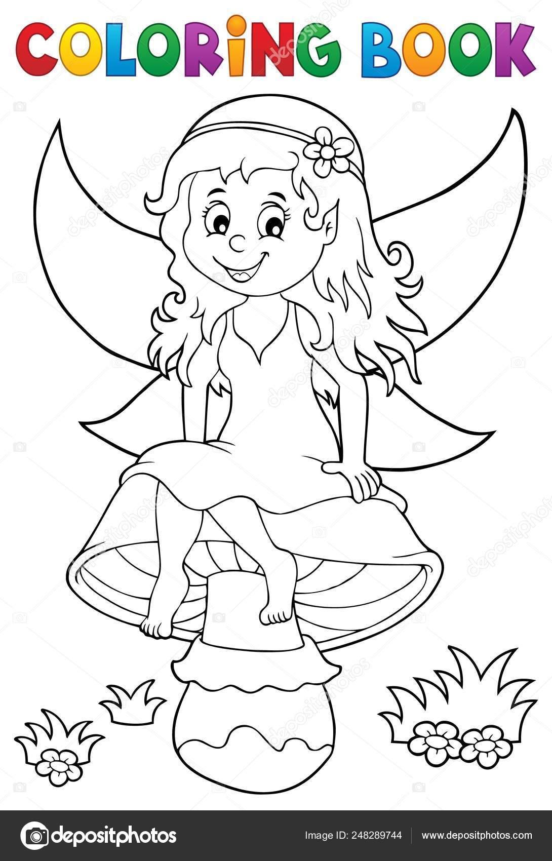 Fata Seduta Fungo Colorazione Su Libro PXwOn08k