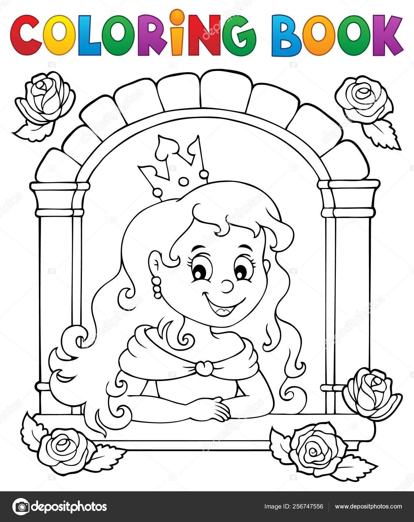Раскраска принцесса в тему окна 1 — Векторное изображение ...