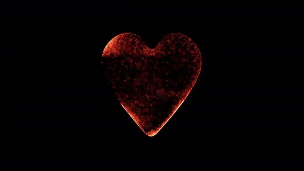 Partikel füllen zufällig die Herzform