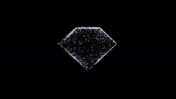 Zeitlupe von Punkten in 3D-Diamantbehältern gefüllt Angaben, 4k Computer generierte Animation