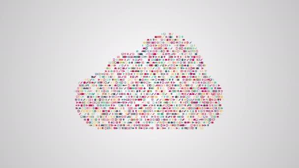 Cloud-computing-Konzept Animation aus einem Satz von Symbolen