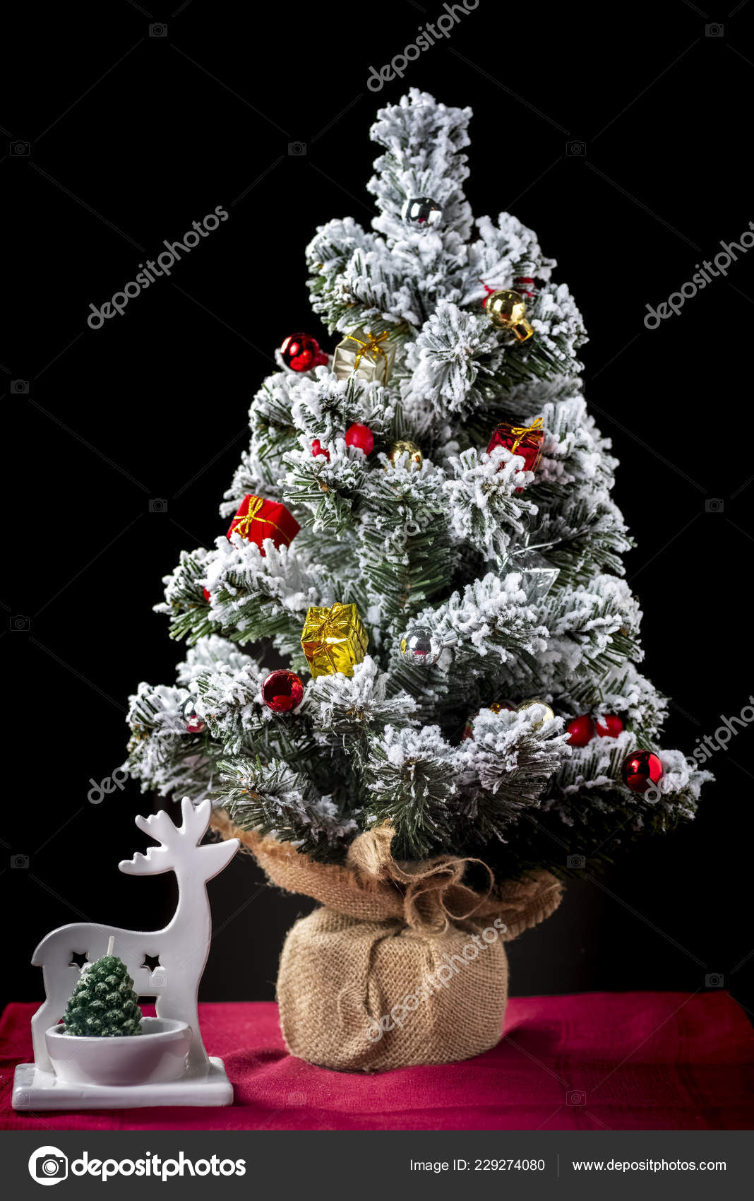 Small Christmas Tree Christmas Decorations Wooden Table Stock Photo C Rlat28 229274080