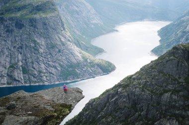 """Картина, постер, плакат, фотообои """"тролльтунга хайк. ringedalsvatnet - озеро в муниципалитете одда в хордаланне, норвегия. девушка с норвежским флагом постеры природа художники"""", артикул 222928242"""