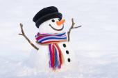 Zimní karta s úsměvem sněhuláka