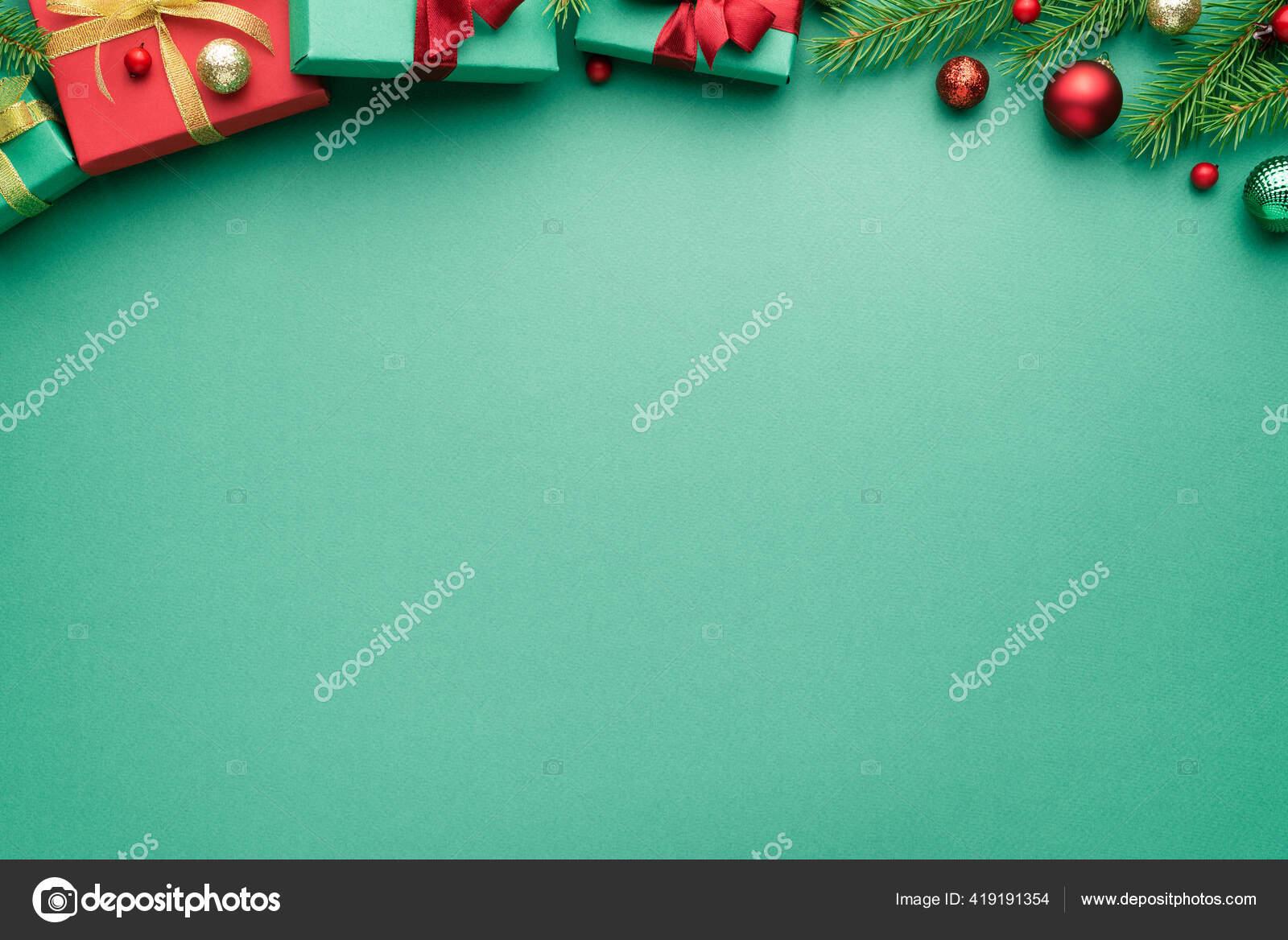 Christmas New Year Turquoise Background Fir Decor Festive Border Copy Stock Photo Image By C Kotenko 419191354