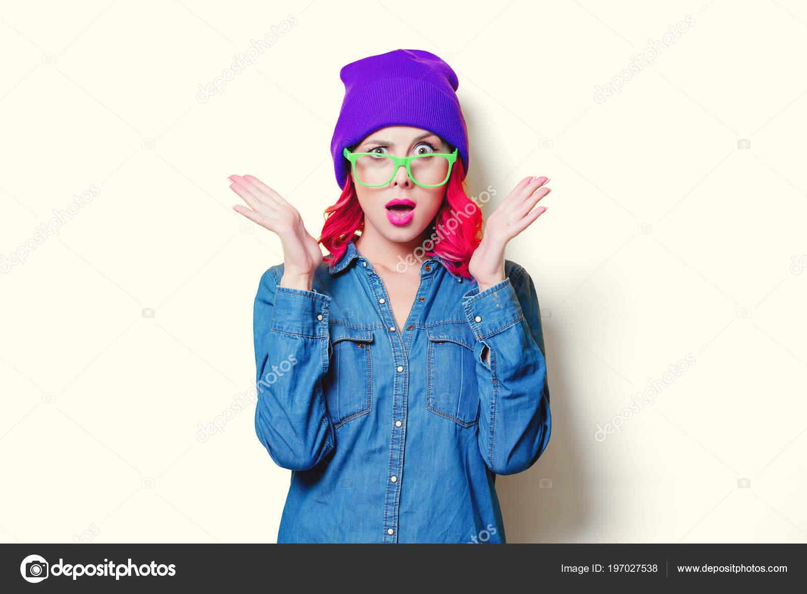 Y Gafas De Camisa Chica AzulPúrpura Verde Sombrero clK1JF