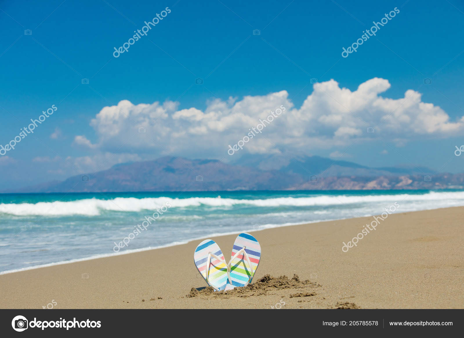 84eac34fd Colored Sandals Stuck Sand Beach Tympaki Crete Greece — Stock Photo ...