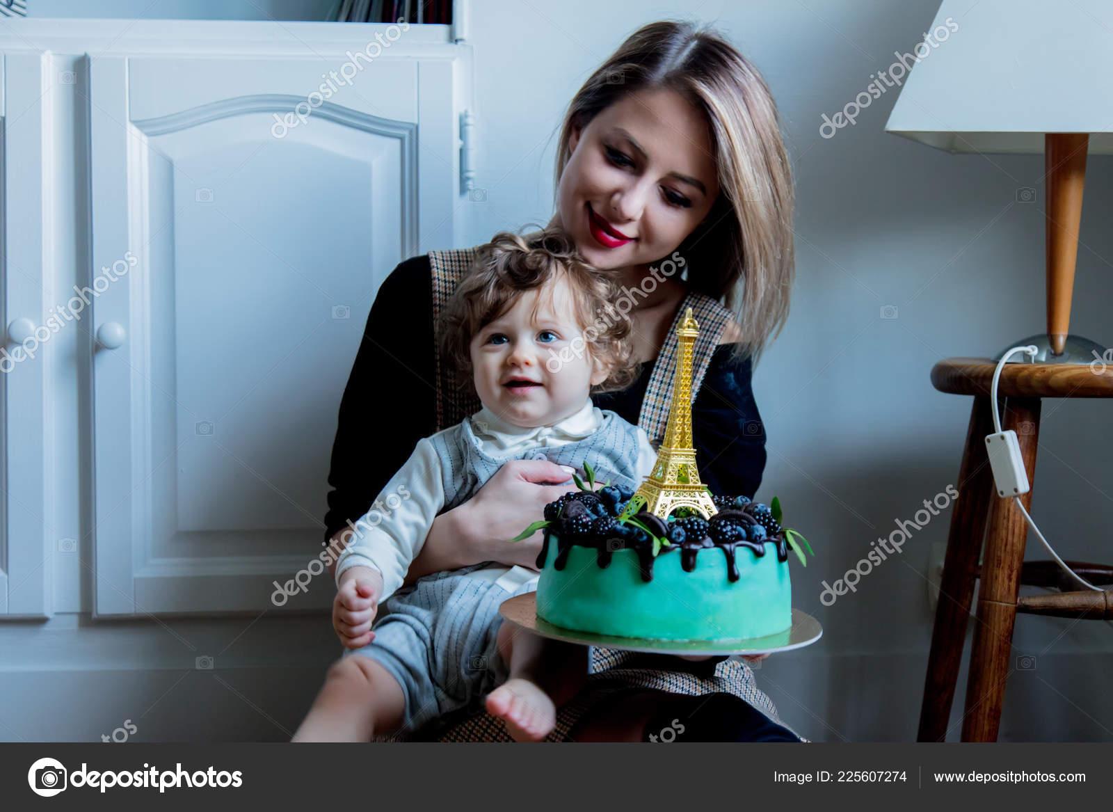 Surprising Mother Toddler Boy His First Cake Birthday Cake Eiffel Tower Personalised Birthday Cards Sponlily Jamesorg
