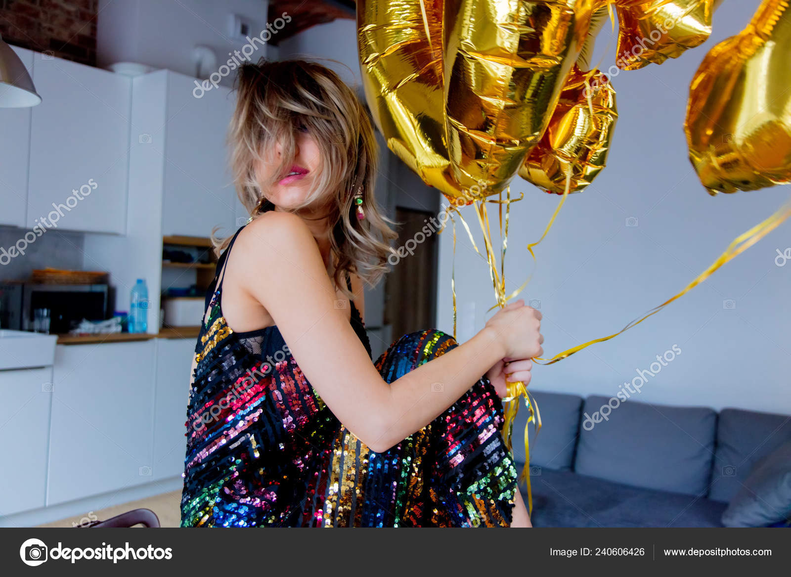 Young Woman Golden Balloons Her Thirty Years Birthday Indoor Location Stock Photo