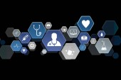 Fotografie eine Reihe medizinischer und allgemeiner Gesundheitssymbole, die auf der Technologie-Schnittstelle angezeigt werden