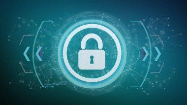 Padlock, security technology interface, 3d rendering stock vector