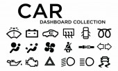 Fotografia Set di icone del cruscotto dellautomobile isolato su priorità bassa di whitre