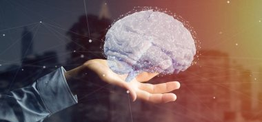 View of a Businessman holding a 3d rendering artificial brain