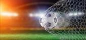 Ansicht eines Fußballballs im Netz eines Tores - 3D-Darstellung