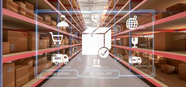 View of Logistic delivery service application on warehouse background 3d rendering