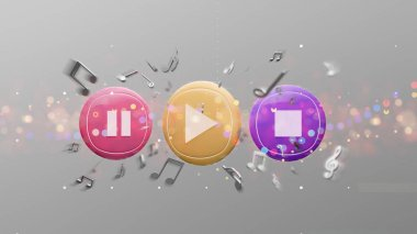 View of a Music button and notes playing on a background 3d rendering