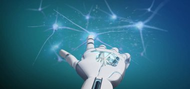 View of a Cyborg hand holding a group of neuron 3d rendering