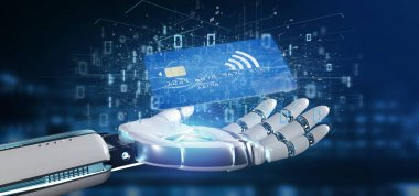 View of a Cyborg hand holding a Contactless credit card payment concept 3d rendering