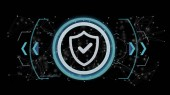 Pohled technologie zabezpečení ikony na kruhu izolované na pozadí 3d vykreslování