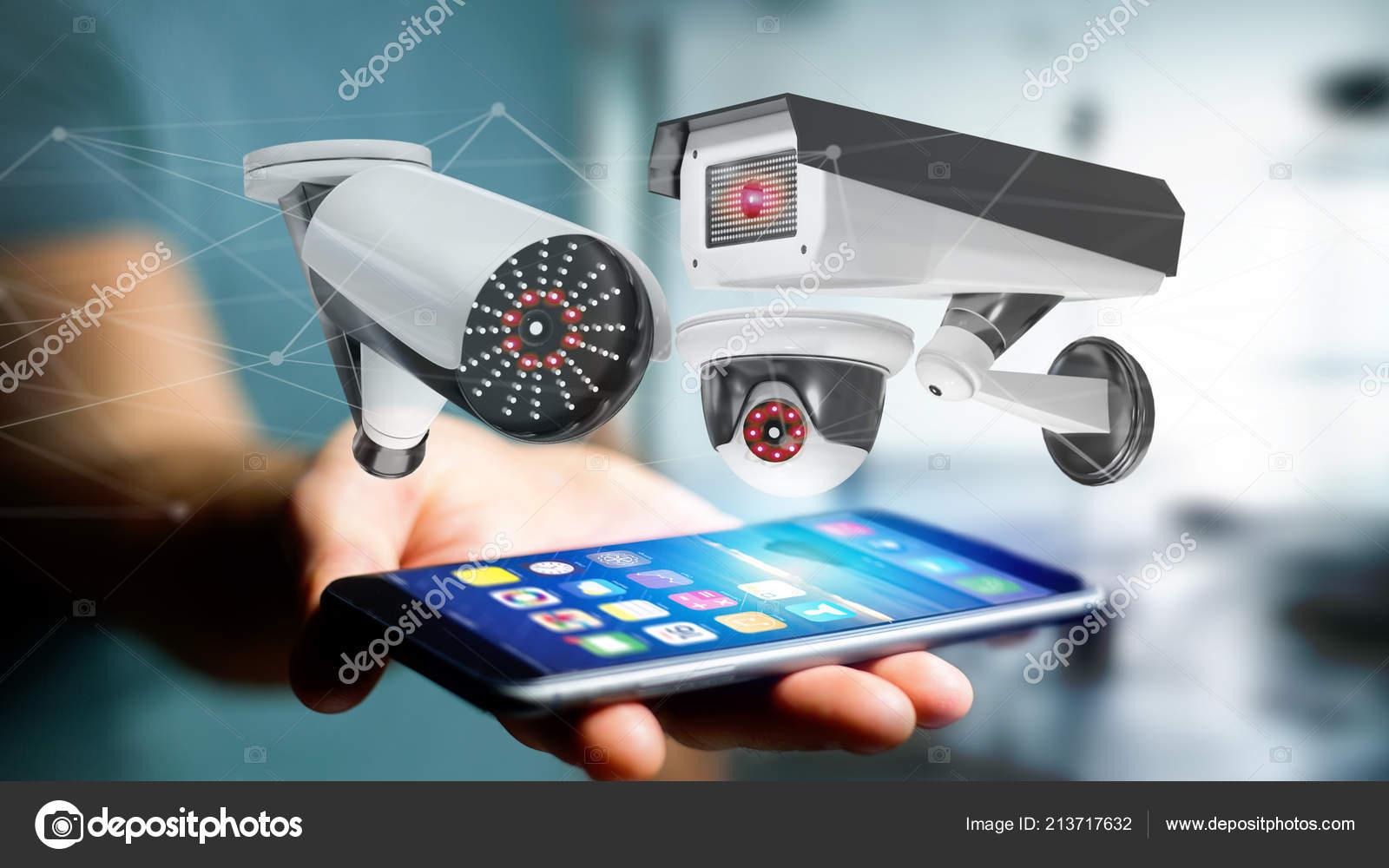 Vista Homem Negócios Usando Smartphone Com Segurança Câmera Sistema Rede —  Fotografia de Stock 38e6e4fb89