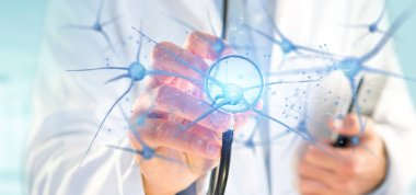 View of a Doctor holding a 3d rendering group of neurons